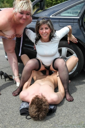 Old Stacey and her friend fucked by a young hitchhiker